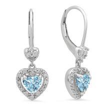Dazzlingrock Collection 10K Ladies Heart Dangling Drop Earrings, White Gold