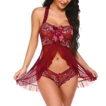 Reyokale Babydoll Lingerie for Women Floral Lace Mesh Chemise Halter Nightwear