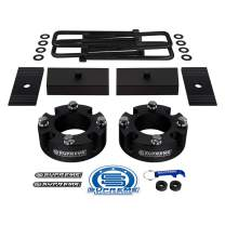 """Supreme Suspensions - Full Lift Kit for 2007-2020 Toyota Tundra 2.5"""" Front Lift Spacers + 1"""" Rear Lift Steel Blocks + Square Bend U-Bolts + Axle Shims 2WD 4WD (Black)"""