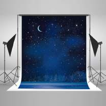 Kate 8×8ft Night Sky Backdrop Moon Stars Background Cotton Cloth Photo Studio Props for Kids Children Photography Decoration
