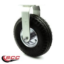 "10"" Pneumatic Rigid Caster - Black Rubber Wheel - 350 lbs. Capacity - Service Caster Brand"