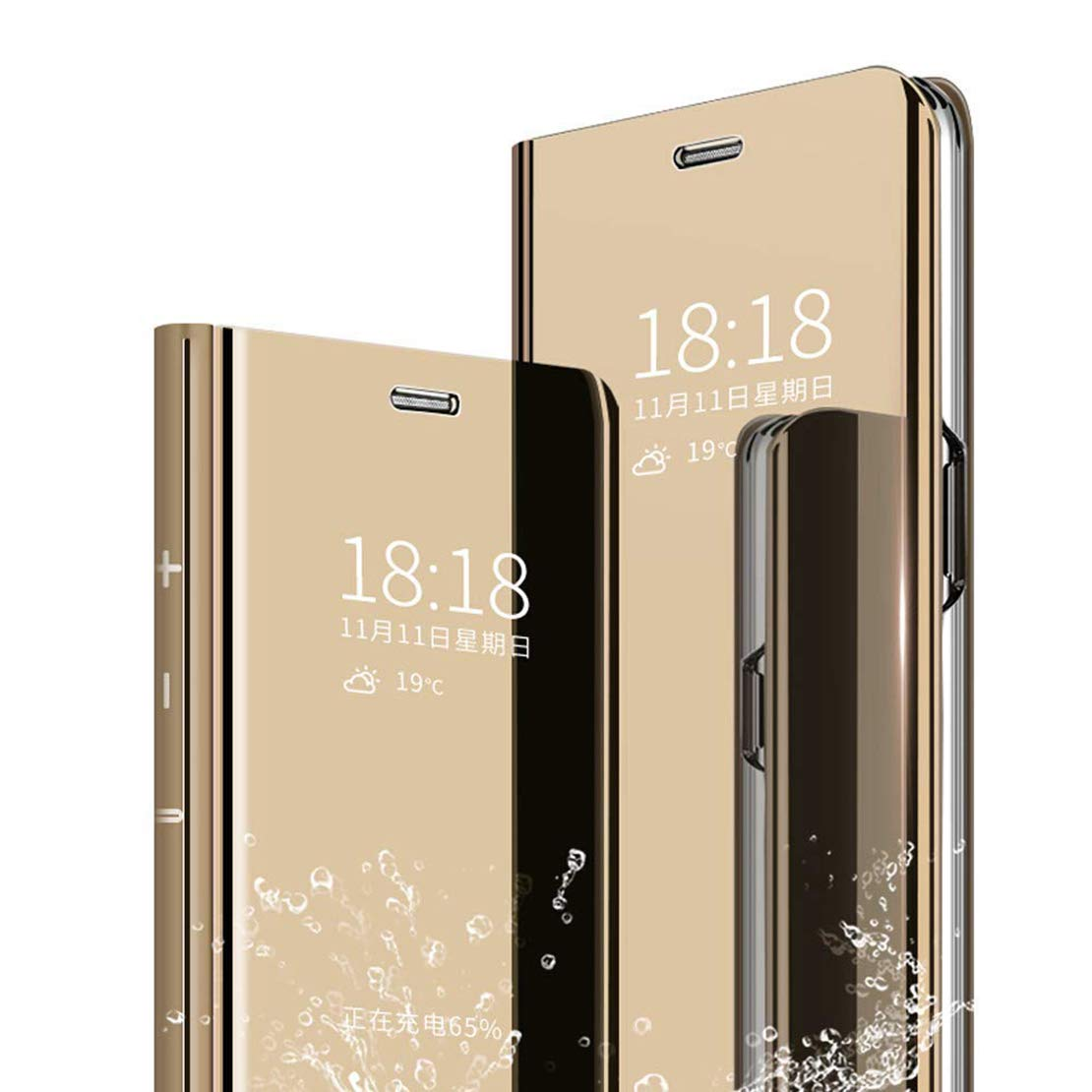 LANYOS Compatible iPhone 11 Pro Flip Case,Full Body Protection Clear S-View Mirror Hard PC Electroplate Plating Cover Built in Kickstand (5.8 inch 2019) (Gold)