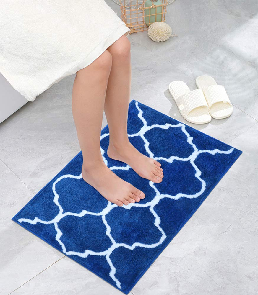 U'Artlines 2 Piece Bathroom Rug Non Slip Bath Mat Shaggy Soft Microfiber Machine Washable Area Rug Water Absorbent Shower Mats for Floor Kitchen Doormat (21''x34'' 2pcs, Blue)