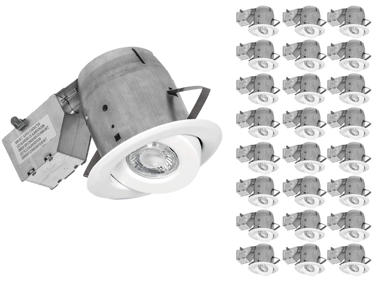 Nadair LED Recessed Lighting Kit (x24) Swivel Spotlight Dimmable Downlight-IC Rated-3000K Warm White GU10 550 Lumens Bulbs (50 Watts Equivalent) Included, 24 Pack, 24 Pack
