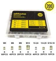 Rivet Nuts Assortment Kit – Aditomo 200pcs Mixed Zinc Plated Carbon Steel Rivet Nut Threaded Insert Nutsert M3 M4 M5 M6 M8 M10 M12