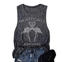 Women Majestically Flamingo Tank Top Funny Words Casual Sleeveless Cami Shirt