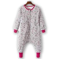 Girls Sleeping Bag Cotton Sack Wearable Blanket Sleeper with Feet Toddler Kids Double Layered Unicorn M