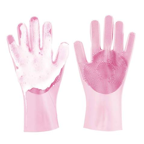 Meidong Silicone Dishwashing Gloves, Reusable Dish Gloves Cleaning Brush Heat Resistan with Sponge Scrubbers for Kitchen Clean, Housework, Bathroom, Bathing, Car Washing