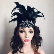 Asooll 20s Feather Headband Vintage Black Crystal Headpiece Flapper Great Gatsby Headdress Prom Head Accessories for Women