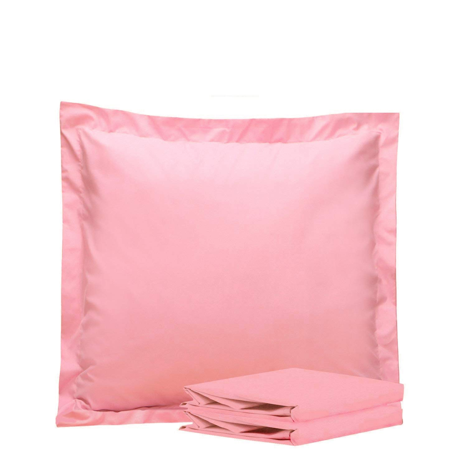 NTBAY 100% Brushed Microfiber European Square Throw Pillow Cushion Cover Set of 2, Soft and Cozy, Wrinkle, Fade, Stain Resistant (26x 26 inches, Pink)