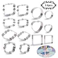 BAKHUK 14pcs Plaque Frame Cookie Cutters Set-7 Different Frames, for Making Mousse Cake, Cookies, Wedding and Birthday Party Decorations