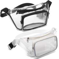 Veckle 2 Pcs Clear Fanny Pack Waist Bag for Travel Sporting Event, Black White