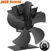 Sonyabecca 5 Blade Stove Fan Fireplace Fan Heat Powered Wood Stove Fan with Magnetic Thermometer for Wood Burning Stove Fireplace