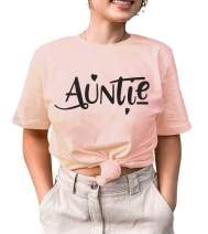 Auntie Shirts for Women Cool Aunt Tshirt Auntie Gifts Tee Shirt Funny Saying Short Sleeve Casual Tops
