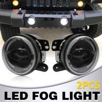 "4"" Inch LED Fog Lights White DRL Halo Ring Led Chip Fog Lamp compatible with J-eep Wrangler Unlimited JK 2007-2018 Driving Off Road Fog Ligh"