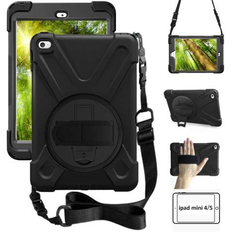 ZenRich iPad Mini 5 Case- iPad Mini 4 Case for Kids 360 Degree Rotatable with Kickstand Hand Strap and Shoulder Strap Heavy Duty Shockproof Case for iPad 7.9 inch Mini 4 2015/Mini 5 2019 Tablet, Black
