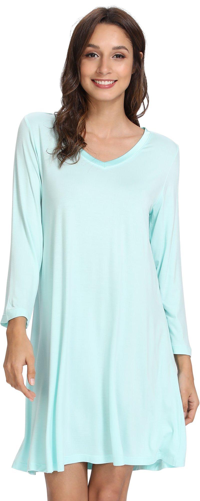WiWi Bamboo Soft Long Sleeve Nightgowns Stretchy Sleepwear Plus Size Sleep Dress Nightwear for Women S-4X