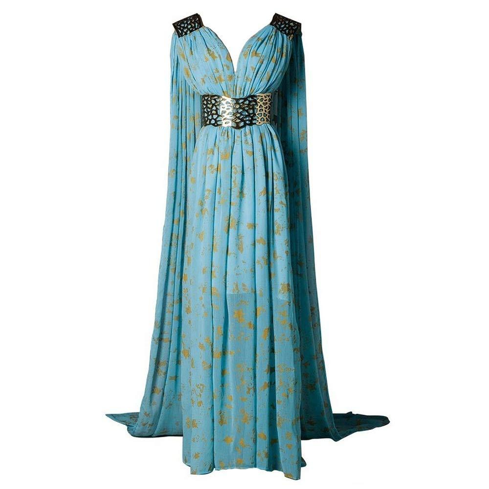 Xfang Women's Chiffon Dress Halloween Cosplay Costume Blue Long Train Dress