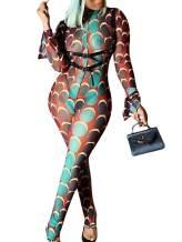Women See Through Two Piece Jumpsuits Off Shoulder Leopard Bell Long Sleeve Bodysuit Sheer Mesh Skinny Pants Club Romper