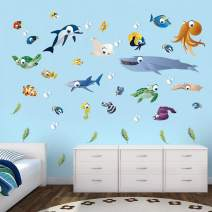 decalmile Under The Sea Kids Wall Stickers Colorful Fish Turtle Octopus Ocean Creatures Wall Decals for Kids Bedroom Nursery Baby Room Bathroom Decoration