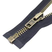 """YaHoGa #8 26 Inch Anitique Brass Separating Jacket Zipper Y-Teeth Metal Zipper Heavy Duty Metal Zippers for Jackets Sewing Coats Crafts (26"""" Anti-Brass)"""