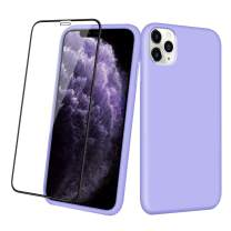 Aemotoy Case for iPhone 11 Pro Soft Rubber Silicone Case Full Body Wrapped 2 in 1 with Tempered Glass Anti-Scratch Shock Absorption Slim Cover Case for 2019 Release iPhone 11 Pro, Light Purple