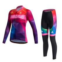 MILOTO Women's Cycling Jersey Set Long Sleeve Padded Pants Suit