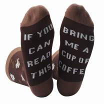 Zicotour Women's If You Can Read This Funny Saying Beer Wine Coffee Taco Donut Crew Socks