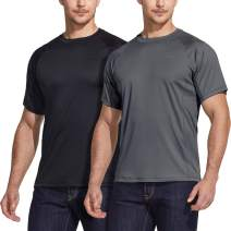 ATHLIO 2 or 3 Pack Men's Workout Running Shirts, Sun Protection Quick Dry Athletic Shirts, Short Sleeve Gym T-Shirts