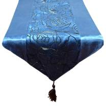 Aothpher 13x70 inch Classic Damask Table Runner Navy Blue with Tassel for Thanksgiving, Christmas, Party, Event Decor