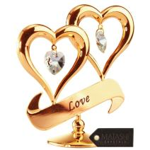 "24K Gold Dipped Love"" Ornament, Two Hearts with Dangling Crystals, Above a ""Love"" Inscribed Banner, in Gift Ready Box, Gift Idea for Valentine's Day, Birthday, Mother's Day, Anniversary, Christmas"