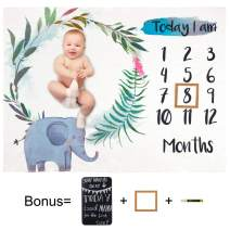 Play Tailor Baby Monthly Milestone Blanket Elephant 40x50 in Ultra Soft Fleece Newborn Baby Shower Photography Background, Include Frame Blackboard Marker