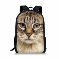 Coloranimal Kids School Backpack 3D Animal Ragdoll Cat Pattern Bookbags for Teen Girls