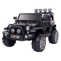 VALUE BOX Safety 12V Battery Electric Remote Control Car, Kids Toddler Ride On Cars Motorized Vehicles Toy Car, Wheels Suspension, Seat Belts, LED Lights and Realistic Horns (Black)