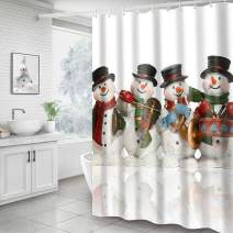 Hoomall Shower Curtain, Christmas Snowman 71x71 Inch Shower Curtain Decorative Bath Curtain Durable with Hooks Fabric Waterproof Muilt Function (71x71 inches, A1-Christmas Snowmans White)