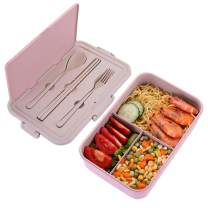 Bento Box for Kids & Adults Lunch Container with 3 Compartments BPA Free Lunch Boxes (Spoon&Fork&Chopsticks included, Pink)