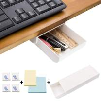 DailyTreasures Self-Adhesive Hidden Pencil Tray, Pencil Drawer Under Desk with 2pcs Sticky Notes-Hidden Desktop Pencil Tray Under Desk Organizer for Pen, Phone, Paperclips(White)
