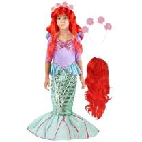 Spooktacular Creations Deluxe Mermaid Costume Set with Red Wig and Headband (Small (5-7))