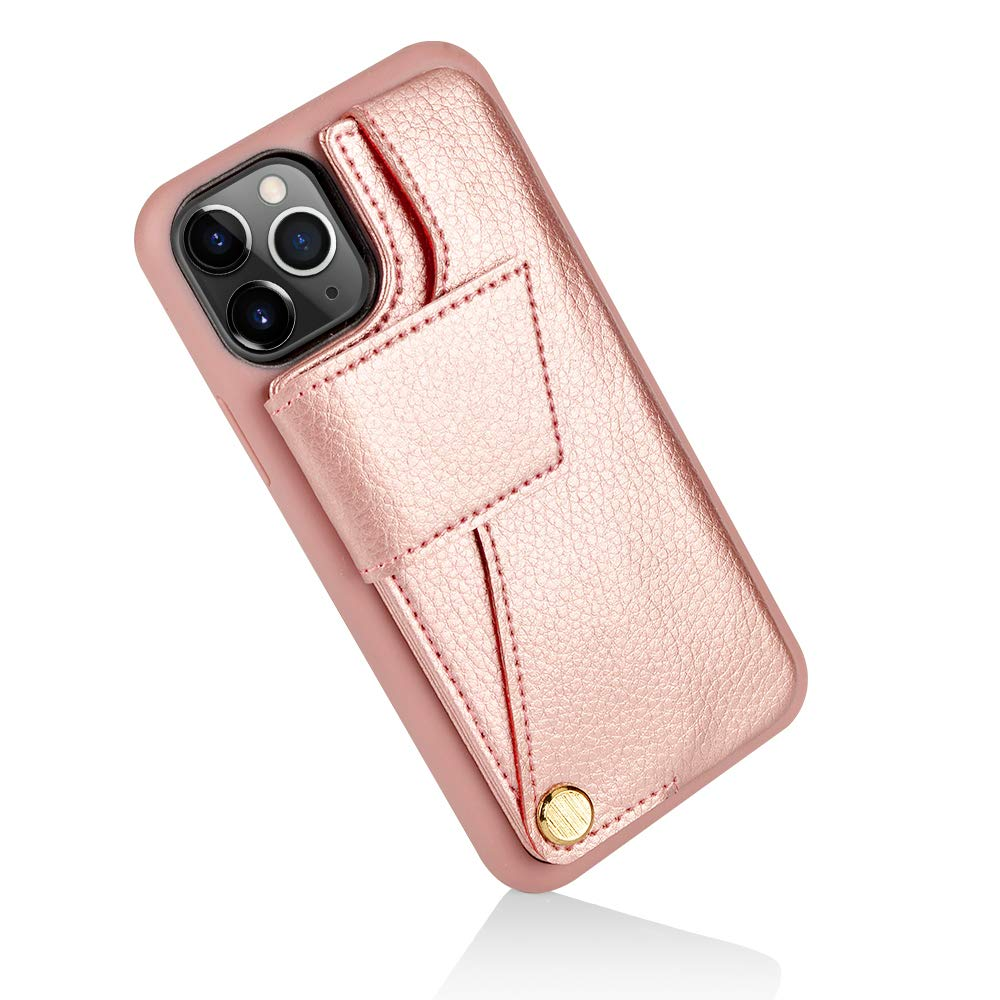 ZVEdeng iPhone 11 Pro Max Wallet Case, iPhone 11 Pro Max Card Holder Case, iPhone 11 Pro Max Shockproof Case Leather Wallet Credit Card Case Handbag Protective Cover, 6.5inch-Rose Gold