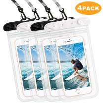 PIBIETTN Transparent Waterproof Phone Case,Universal IPX8 Waterproof Phone Pouch Dry Bag for iPhone 11/11Pro/ Xs Max/Xr/Xs/X/8/8 Plus/7/7Plus/6 (2 Black+2 White 4-Pack)