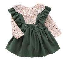 MTSLYH Toddler Baby Girl Suspender Skirt Set Polka Dot Romper Top+Velvet Ruffle Overall
