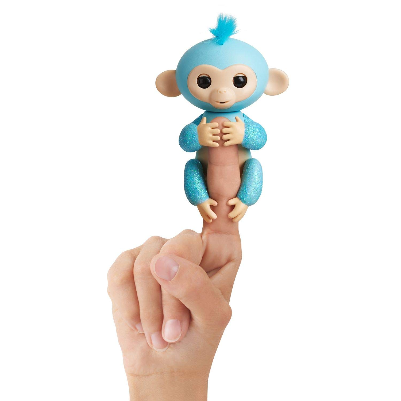 Fingerlings Glitter Monkey - Amelia (Turquoise Blue Glitter) - Interactive Baby Pet - By WowWee