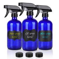 16oz Cobalt Blue Glass Spray Bottles,3 Pack Empty Spray Bottle Refillable Containers for mixing Essential Oils,Hair & Cleaning Products,Aromatherapy,Natural Air Freshener,Plants etc - DIY Labels
