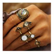 deladola Vintage Ring Set Gold Sparkly Gemstone Joint Knuckle Hand Rings Stackable Midi Opal Hollow Hand Jewelry for Women and Girls (6Pcs)