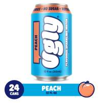 Ugly Peach Flavored Sparkling Water - No Sugar - No Sweetener - No Calories - (24 x 12oz) - Sugar-free Seltzer Water Cans of Naturally Flavored Peach.