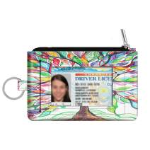 Zip ID Case Card Holder, Fintie Slim Coin Purse Wallet RFID Blocking Change Pouch with Key Chain (Love Tree)