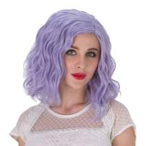 Alacos Fashion 35cm Short Curly Full Head Wig Heat Resistant Daily Dress Carnival Party Masquerade Anime Cosplay Wig +Wig Cap (Silver Blue-Purple)