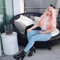 HEAHAIR Pink Color Synthetic Hair Wig Pastel Pink Color Heat Safe Synthetic Lace Front Wigs (Pastel pink)