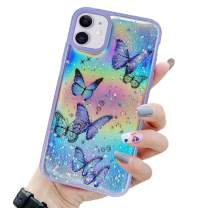 LCHULLE Girly Case for iPhone SE 2020 iPhone 7 iPhone 8 Case Cute Iridescent Butterfly Design Laser Bling Glitter Stars Girls Women Soft TPU Bumper Drop Protection Cover for iPhone 7/8/SE2020, Purple