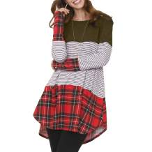 kaimimei Women's Casual Plaid Color Block Swing Dress Crew Neck Long Sleeve Tunic Midi T-Shirt Dress